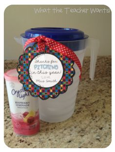 """For a parent volunteer-A pitcher with a container of Crystal Light drink mix. """"Thanks for PITCHING in this year!"""" (What the Teacher Wants!)"""