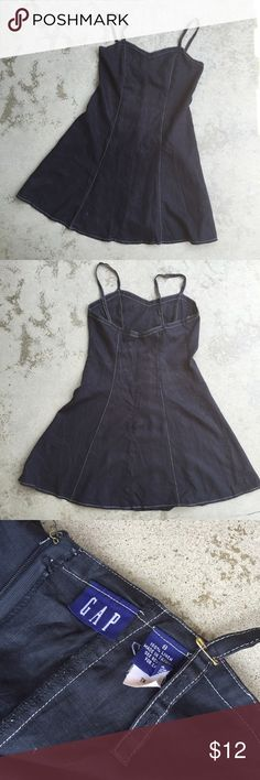 """GAP Black Linen Fit and Flare Slip Dress 90's Slip dress with princess seaming and white topstitching. 100% linen, somewhat worn, very soft. Used to have buttons for adjustable straps, but I replaced with safety pins -- so punk, right? CF 28"""". CB 23.5"""". Side 25"""". Bust 33"""". Waist 31"""". Hips 42"""". Hem 68"""". Strap full length 17.5"""". GAP Dresses Mini"""
