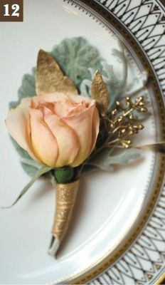 Groom's boutonniere with Versilla rose, dusty Miller, and gilded eucalyptus foliage   Haute Flower Boutique   Minnesota Bride