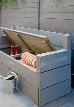 Outdoor benches add storage, beauty and seating to any area around your home! You cannot go wrong with an outdoor bench. Diy Garden Furniture, Recycled Furniture, Pallet Furniture, Outdoor Furniture, Furniture Ideas, Furniture Storage, Storage Shed Organization, Diy Kitchen Storage, Bench With Storage