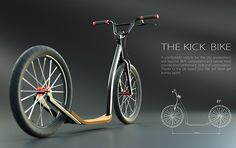 Kick bike on Behance Trike Scooter, Kick Scooter, Scooter Design, Bicycle Design, Wood Bike, Velo Vintage, Push Bikes, Lowrider Bike, Balance Bike