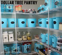 Dollar Tree Pantry Organization...pretty blue.  Under $100 for everything!