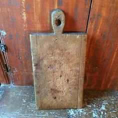 Early-antique-wooden-treen-cutting-dough-board-patina-AAFA-Lollipop-Top-19th-C
