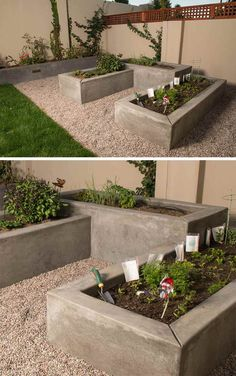 Gardening Vegetable 10 Excellent Examples Of Built-In Concrete Planters // Custom smooth concrete vegetable boxes have been designed at varying heights to add interest to this garden. Concrete Planter Boxes, Garden Planter Boxes, Wall Planters, Cement Planters, Succulent Planters, Succulents Garden, Landscaping Blocks, Backyard Landscaping, Landscaping Ideas