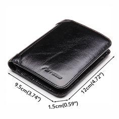 Men RFID Blocking Secure Wallet Fashion Vintage Purses Genuine Leather Tri-fold Wallet Short Wallet