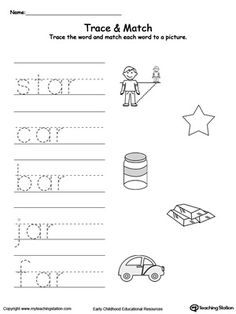 AR Word Family Trace and Match: Practice writing short words and identify their sound by matching the word with the picture. This activity will improve your child writing skills and increase their vocabulary words.