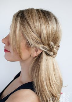 This half crown braid will work with either straight or curly hair. Click on the photo to get the tutorial.