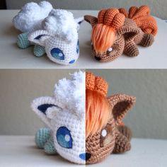 Alola Vulpix and Vulpix amigurumi Pokemon Crochet Pattern, Crochet Toys Patterns, Amigurumi Patterns, Knitting Patterns, Cute Crochet, Crochet Crafts, Yarn Crafts, Crochet Projects, Pokemon Craft