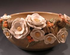 Pottery Bowl Brown Pot with Flowers by claynestpottery on Etsy