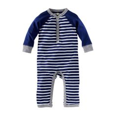 Little Boy Caravan Stripe Henley Romper| Tea Collection
