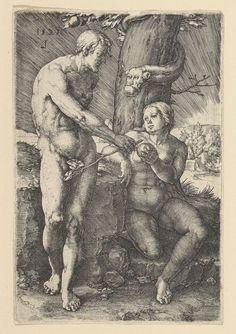 Sin of Adam and Eve - Lucas van Leyden. Metropolitan Museum of Art, New York City NY, USA. Robert Campin, The Falling Man, Religion Catolica, Albrecht Durer, Historical Images, Classical Art, Old Art, Vintage Wall Art, Religious Art