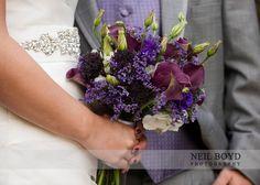 Purple & white flower bridal bouquet.