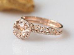 2PCS7mm Round Morganite Ring Set 14k Rose Gold Engagement