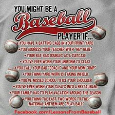 You might be a baseball player if...