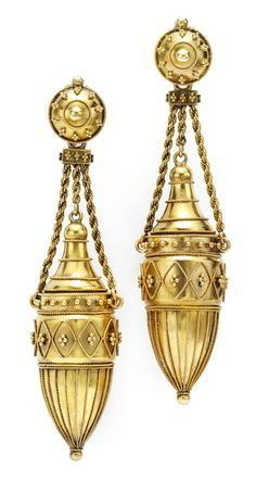 A Pair of Etruscan Revival 18k Gold Ear Pendants. Each Urn-Form Drop with Applied Bead and Rope Work Accents is Suspended by Rope Twist Chains.   Available at FD. www.fd-inspired.com