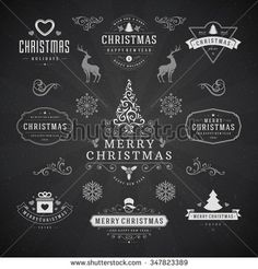 Merry Christmas And Happy New Year Wishes Typographic Labels and Badges set, Vintage decorations, objects, symbols and elements, vector illustration on chalkboard Noel Christmas, Merry Christmas And Happy New Year, Christmas Signs, Happy New Year Wishes, Happy New Year 2018, Badges, Chalkboard Quotes, Vintage Decorations, Typography
