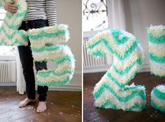 How to Make a # Pinata from Oh Happy Day blog, cute birthday idea for a grownup birthday party with an old school child's birthday theme....or for the 100th day of school!