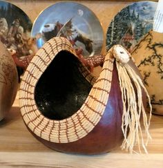 Coiled Seagrass rimmed gourd bowl with antler button