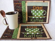 Quilted Mug Rug with Swedish Coffee Words by HiddenLakeHomespuns