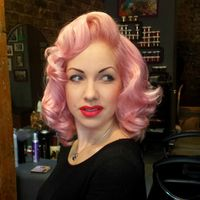 Hair by Rockalily Cuts. Pastel pink, Rockabilly