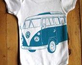Screen Printed American Apparel VW Bus Onesie (You Pick Size)
