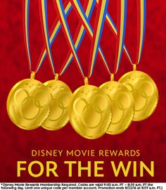Watch the Summer Games and earn Bonus Points with Disney Movie Rewards For The Win!  It's easy! Watch the summer games to support your athletes and follow us on Disney Movie Rewards Facebook, Pinterest and Twitter pages as there will be opportunities to earn points on these pages.   Go for the gold this summer!