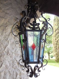 Lantern chandelier with stained glass lantern chandelier wrought antique french wrought iron chandelier lantern stained glass aloadofball Gallery