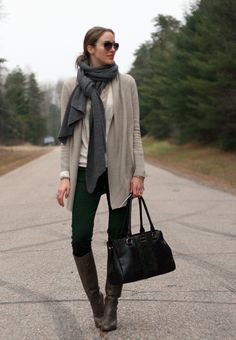 Green jeans and layering sweaters | Laura Wears...