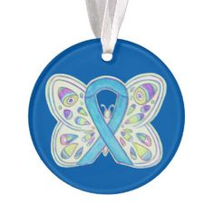 Blue Butterfly Awareness Ribbon Christmas Ornament