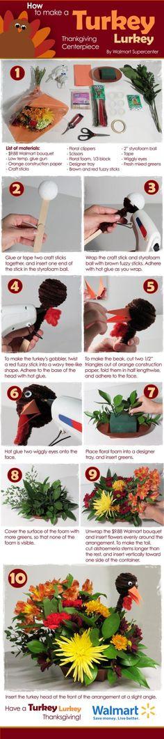 How to Make Your Own Turkey Centerpiece #Walmart