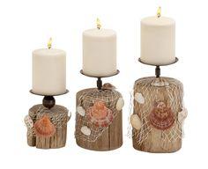 Wonderful Driftwood Candle Holder Set Of 3