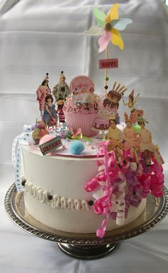 Top your birthday cake with this special pastel and pink birthday girl cake topper. Base is an 8 carboard cake circle covered in birthday cake print