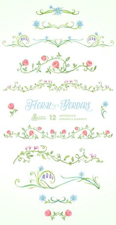 Floral Borders & Elements. 12 Digital Clipart. by OctopusArtis
