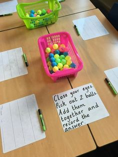 Due Date This is a cute idea to do as a bell ringer or an exit slip to assess students' knowledge of addition. Each student will creat Math Stations, Math Centers, Math Resources, Math Activities, Base Ten Activities, First Grade Activities, Maths 3e, Primary Maths, Year 1 Maths