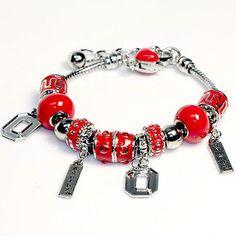 Ohio State Buckeyes Beaded Charm Bracelet