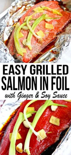 This easy grilled salmon in foil recipe with the flavors of soy sauce and ginger requires virtually no clean-up. Its perfect for busy weeknights or entertaining! 231 calories and 0 Weight Watchers SP Ww Recipes, Seafood Recipes, Low Carb Recipes, Dinner Recipes, Cooking Recipes, Healthy Recipes, Light Recipes, Easy Cooking, Sweet Recipes