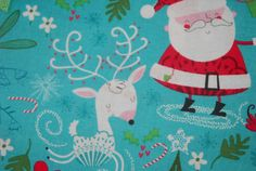 SALE 25% OFF SALE Adorable Santa Reindeer Penguin Christmas Holiday Fabric by Holiday Inspirations  - 100 Percent Quality Cotton - $5.99 USD