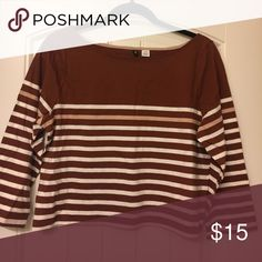 3/4 Sleeve Cropped &Striped Urban Outfitters Top 3/4 Sleeve Cropped &Striped Urban Outfitters Top with top half brown and bottom half brown and white striped, soft cotton T shirt Urban Outfitters Tops Crop Tops