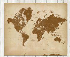 Vintage Style Worldmap Mounted on Foam Board,16X20 Inches, World Travel, Honeymoon, Vacation Art, Travel Map, Antique