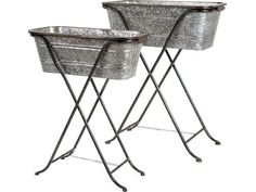 Blaklin Galvanized Planters on Stand (Set of Outfitted with a sturdy iron stand that elevates them for easy tending, our Darnell Galvanized Planters are a pr Galvanized Planters, Galvanized Metal, Planter Pots, Metal Planters, Planter Ideas, Hanger Stand, Backyard Lighting, Butterfly Chair, Dot And Bo