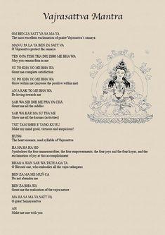 Vajrasattva Mantra, purification