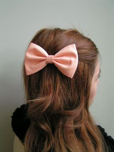 Hair Bow, Hairbows, Hair bows, women,girls, peach, fabric bows,bows,bow. $3.99, via Etsy.