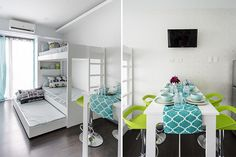Guest room with Murphy Bed, Airy and cool colors