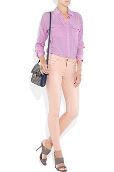 Victoria Beckham Denim leggings-style jeans in beautiful sunbleached pink Victoria Beckham Jeans, Leggings Fashion, Leggings Style, Denim Leggings, Pastel Fashion, Spring Street Style, Pretty Pastel, Jeans Style, What To Wear