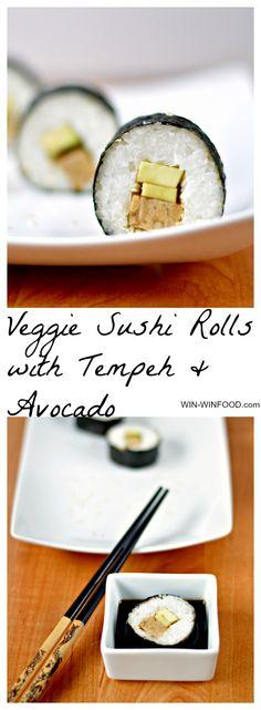 Veggie Sushi with Smoked Tempeh & Avocado | WIN-WINFOOD.com #vegan #glutenfree #healthy
