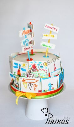 Would be cool for an end of the year school party. Teacher Birthday Cake, Teacher Cakes, Dad Birthday Cakes, School Cake, Cake Decorating With Fondant, Crazy Cakes, Painted Cakes, Take The Cake, Cake Tins