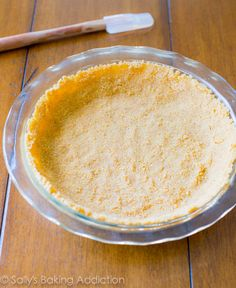Easy homemade Graham Cracker Crust. Thick, sturdy, and buttery. Never buy it from the store again because this is so easy.