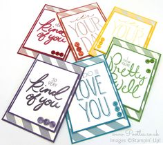 Stampin' Up! Demonstrator Pootles - A Regal Rainbow of Big on You Cards So today's card is actually a collection of cards! I was looking at my embellishment caddy and looking at the buttons, thinki...
