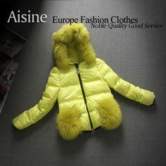 2013 winter new feather raccoon fur collar hooded zipper jacket women short paragraph Breadsticks $135.42