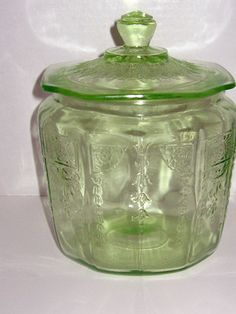 Princess is what I collect!   I have this jar! Princess Depression Glass green cookie jar